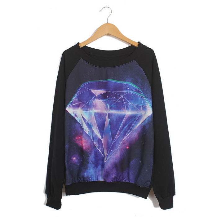 2cad7a2e8 Hipster Galaxy Space Nebula and Diamond Print Long Sleeves Round Neck Black  Sweatshirt